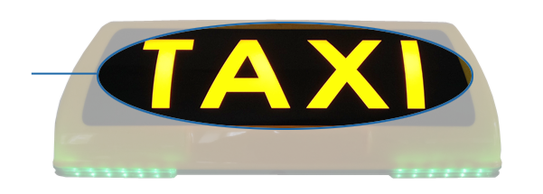 The iToplight taxi sign has an illuminated logo/taxi-zone on the rear side